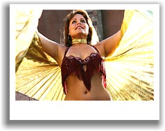 Amy bellydancing with wings of Isis
