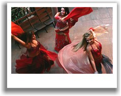 Professional bellydancers performing with veils at a function